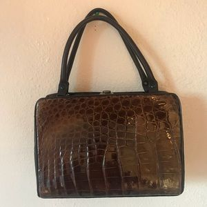 Classic 1950's Bellestone Brown Alligator Handbag